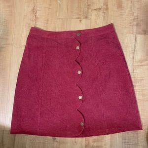 Burgundy Scalloped button Skirt